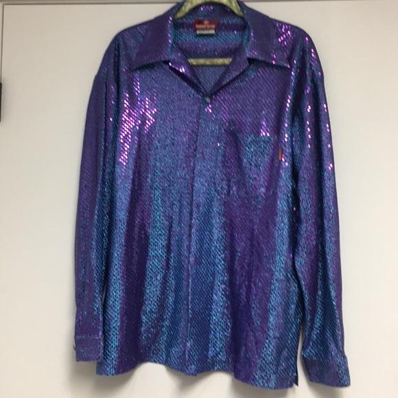 Third Rail Men's Large Blue/Purple Sequin Top